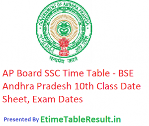 AP Board SSC Time Table 2019 - BSE Andhra Pradesh 10th Class Date Sheet, Exam Dates