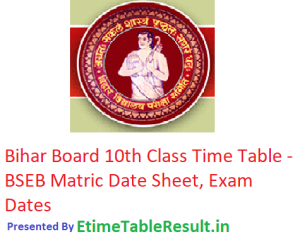 Bihar Board 10th Class Time Table 2019 - BSEB Matric Date Sheet, Exam Dates