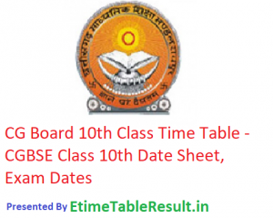 CG Board 10th Class Time Table 2019 - CGBSE Class 10th Date Sheet, Exam Dates