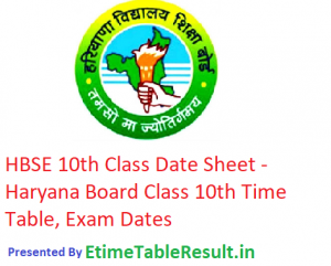 HBSE 10th Class Date Sheet 2019 - Haryana Board Matric Time Table, Exam Dates