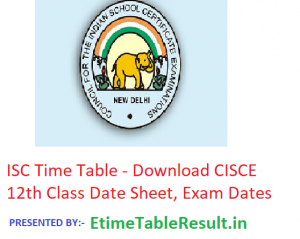 ISC Time Table 2019 - Download CISCE 12th Class Date Sheet, Exam Dates