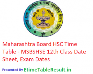 Maharashtra Board HSC Time Table 2019 - MSBSHSE 12th Class Date Sheet, Exam Dates