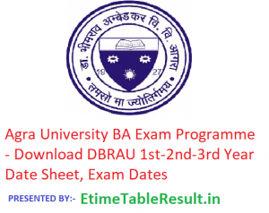 Agra University BA Exam Programme 2019 - Download DBRAU 1st-2nd-3rd Year Date Sheet, Exam Dates