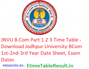 JNVU B.Com Part 1 2 3 Time Table 2019 - Download Jodhpur University BCom 1st-2nd-3rd Year Date Sheet, Exam Dates