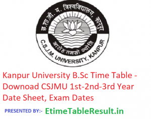 Kanpur University B.Sc Time Table 2019 - Download CSJMU 1st-2nd-3rd Year Date Sheet, Exam Dates