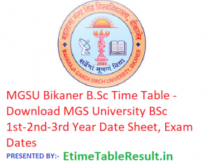 MGSU Bikaner B.Sc Time Table 2019 - Download MGS University BSc 1st-2nd-3rd Year Date Sheet, Exam Dates