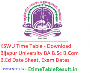 KSWU Time Table 2018-19 - Download BA B.Sc B.Com B.Ed Date Sheet Bijapur University, Exam Dates