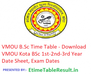 VMOU B.Sc Time Table 2019 - Download BSc 1st-2nd-3rd Year Date Sheet, Exam Dates