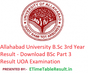 Allahabad University B.Sc 3rd Year Result 2019 - Download BSc Part 3 Results UOA Examination