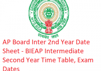 AP Board Inter 2nd Year Date Sheet 2019 - BIEAP Intermediate Second Year Time Table, Exam Dates