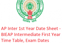 AP Inter 1st Year Date Sheet 2019 - BIEAP Intermediate First Year Time Table, Exam Dates