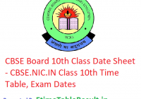 CBSE Board 10th Class Date Sheet 2019 - CBSE.NIC.IN Class 10th Time Table, Exam Dates