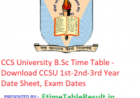 CCS University Time Table 2019 - Download CCSU 1st-2nd-3rd Year Date Sheet, Exam Dates