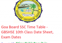 Goa Board SSC Date Sheet 2019 - GBSHSE 10th Class Time Table, Exam Dates