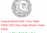 Gujarat Board HSC Time Table 2019 - GSEB 12th Class Date Sheet, Exam Dates