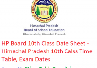 HP Board 10th Class Date Sheet 2019 - HPBOSE Class 10 Time Table, Exam Dates