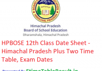 HPBOSE 12th Class Date Sheet 2019 - Himachal Pradesh Plus Two Time Table, Exam Dates