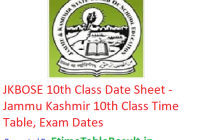 JKBOSE 10th Class Date Sheet 2019 - JK Board Class 10th Time Table, Exam Dates