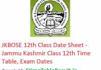 JKBOSE 12th Class Date Sheet 2019 - Jammu Kashmir 12th Class Time Table, Exam Dates