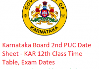 Karnataka 2nd PUC Date Sheet 2019 - KAR Board 12th Class Time Table, Exam Dates