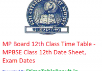 MP Board 12th Class Time Table 2019 - MPBSE HSSC Date Sheet, Exam Dates