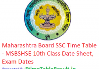 Maharashtra Board SSC Time Table 2019 - MSBSHSE 10th Class Date Sheet, Exam Dates