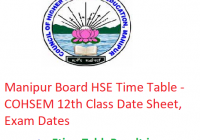 Manipur Board HSE Time Table 2019 - COHSEM 12th Class Date Sheet, Exam Dates