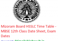 Mizoram Board HSSLC Routine 2019 - MBSE 12th Class Time Table, Exam Dates