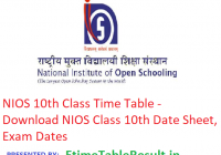 NIOS 10th Class Time Table 2019 - Download NIOS Class 10 Date Sheet, Exam Dates