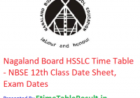 Nagaland Board HSSLC Time Table 2019 - NBSE 12th Class Date Sheet, Exam Dates