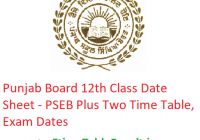 Punjab Board 12th Class Date Sheet 2019 - PSEB Plus Two Time Table, Exam Dates