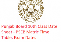 Punjab Board 10th Class Date Sheet 2019 - PSEB Matric Time Table, Exam Dates