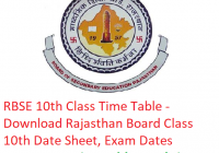 RBSE 10th Class Time Table 2019 - Download Rajasthan Board Class 10 Date Sheet, Exam Dates