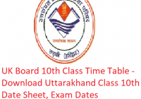 UK Board 10th Class Time Table 2019 - Download Uttarakhand Class 10 Date Sheet, Exam Dates