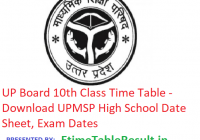 UP Board 10th Class Time Table 2019 - Download UPMSP High School Date Sheet, Exam Dates