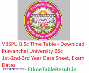 VBSPU B.Sc Time Table 2019 - Download BSc Part 1st-2nd-3rd Year Date Sheet Purvanchal University, Exam Dates