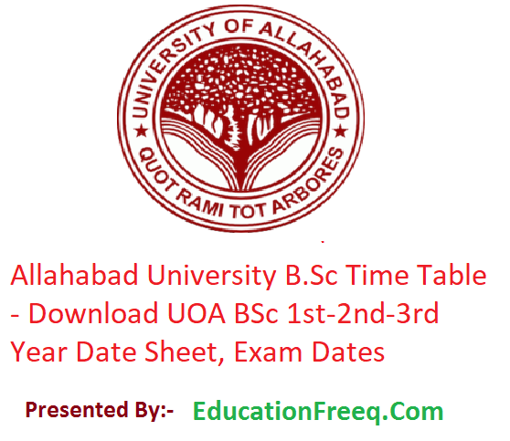 Allahabad University B Sc Time Table 2019 - Download 1st-2nd-3rd