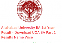 Allahabad University BA 1st Year Result 2019 - Download Part 1 Results UOA Examination