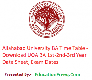 Allahabad University BA Time Table 2020 - Download 1st-2nd