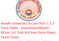 Avadh University B.Com Part 1 2 3 Time Table 2019 - Download RMLAU BCom 1st-2nd-3rd Year Date Sheet, Exam Dates