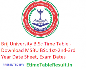 Brij University B.Sc Time Table 2019 - Download BSc 1st-2nd-3rd Year Date Sheet MSBU Bharatpur, Exam Dates
