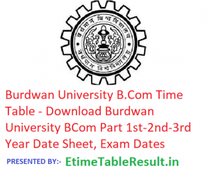 Burdwan University B.Com Time Table 2019 - Download Part 1st-2nd-3rd Year Date Sheet, Exam Dates