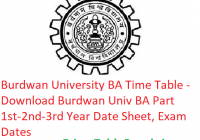 Burdwan University BA Time Table 2019 - Download Part 1st-2nd-3rd Year Date Sheet, Exam Dates