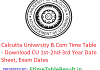 Calcutta University B.Com Time Table 2019 - Download CU 1st-2nd-3rd Year Date Sheet, Exam Dates