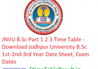 JNVU B.Sc Part 1 2 3 Time Table 2019 - Download Jodhpur University BSc 1st-2nd-3rd Year Date Sheet, Exam Dates