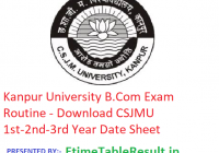 Kanpur University B.Com Exam Routine 2019 - Download CSJMU 1st-2nd-3rd Year Date Sheet, Exam Dates