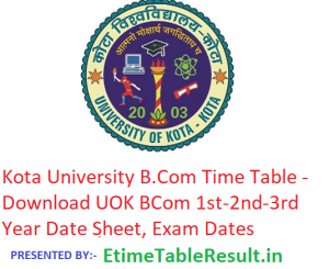 Kota University B.Com Time Table 2019 - Download UOK BCom 1st-2nd-3rd Year Date Sheet, Exam Dates