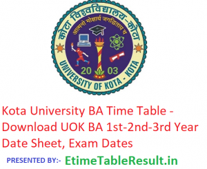 Kota University BA Time Table 2019 - Download UOK 1st-2nd-3rd Year Date Sheet, Exam Dates