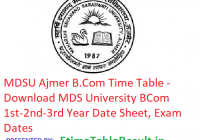 MDSU Ajmer B.Com Time Table 2019 - Download MDS University BCOm 1st-2nd-3rd Year Date Sheet, Exam Dates