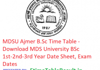 MDSU Ajmer B.Sc Time Table 2019 - Download MDS University BSc 1st-2nd-3rd Year Date Sheet, Exam Dates